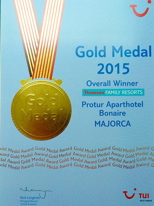 """Protur Hotels ha conseguido nueve galardones de los premios TUI UK & Ireland en su edición de 2014, uno de ellos un """"Overall Gold Medal Winner""""."""