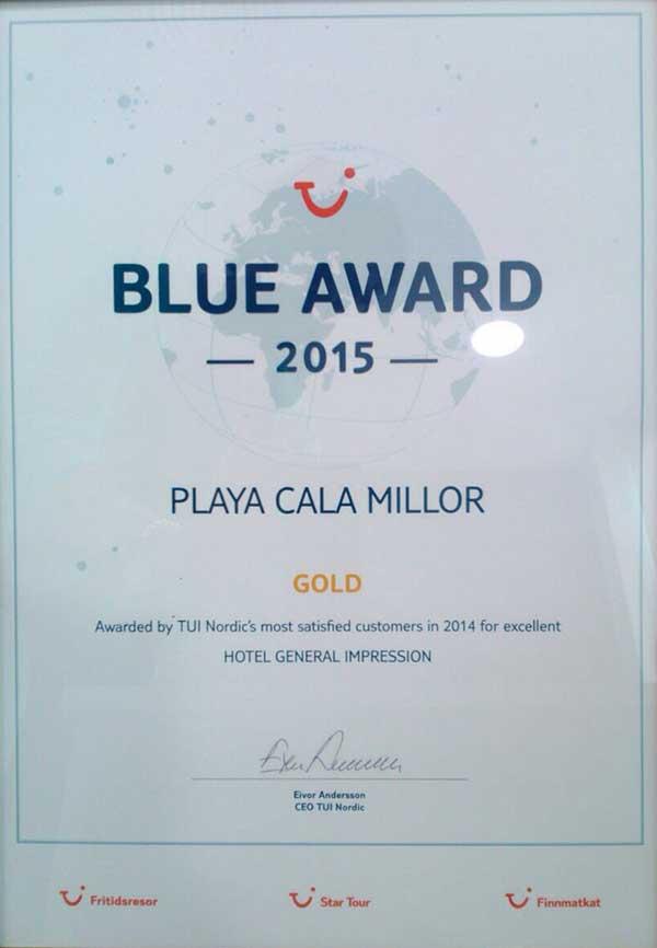 BLUE AWARD 2015 Gold para Protur Playa Cala Millor Hotel